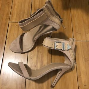 [zara] nude faux suede heeled sandals